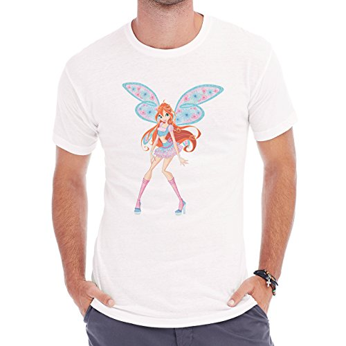 Winx Club Red Hair Blue And Pink Wings Heart Herren T-Shirt Weiß