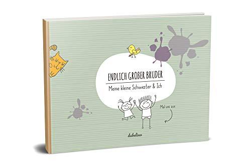 """Geschenk für großen Bruder:\""""kleine Schwester + großer Bruder\""""-Buch (Öko, Recycling-Papier, Erinnerungsalbum/Fotoalbum für Geschwister zur Geburt)"""