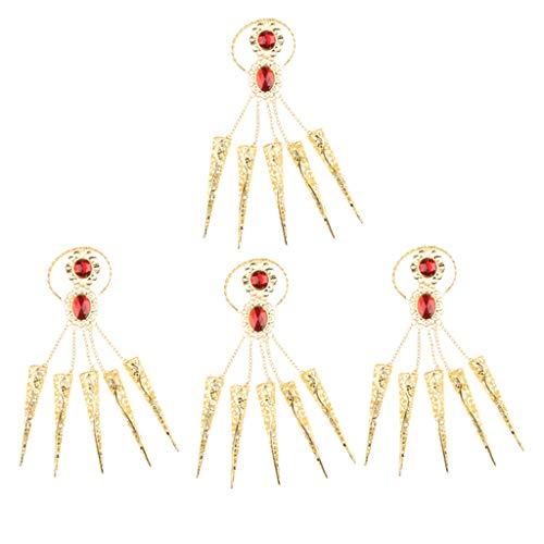 P prettyia 4 pezzi unghia ornamento con lunghi chiodi dorati gioielli danze per ballare