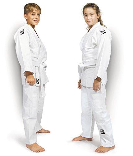 Green hill judogi junior 350gr/m2 kimono divisa judo jiu jitsu, unisex bambini, bianco, 140