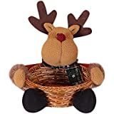 Aobiny Christmas Candy Storage Basket,Cute Santa,Snowman,Elk Portable Christmas Candy Storage Basket Decoration,Santa Claus Storage Basket Gift,for Storage Candy, Cookies,Small Gift (B)