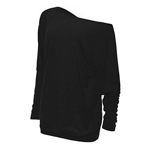 Women's Batwing Long Sleeve Loose Knitwear Jumper Pullover Casual Tops Blouse T-Shirt Black