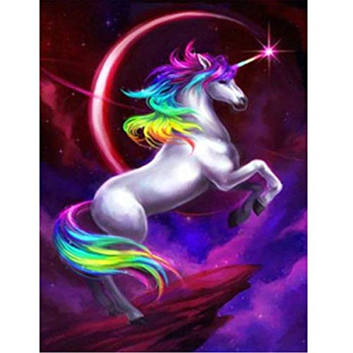 DIY 5D Diamond Painting by Numbers Kit, 5D Diamant Painting Einhorn Complete Drill Flying Unicorn Animal Embroidery Cross Stitch Rhinestone Pictures Art Crafts Home Wall Decor 30 x 40 cm