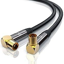 CSL-Computer Premium 5m câble d'antenne Connecteur à Angle TV Facteur de Blindage 135 DB Résistance 75 Ohm - Câble coaxial Koax HDTV Full HD - Prise Koax sur câble Koax - Boîtier en métal - Noir