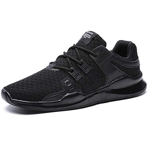 BAOLESME Herren Sportschuhe Atmungsaktiv Gym Laufschuhe Leichtgewicht Turnschuhe Freizeit Outdoor Sneaker,02-schwarz,EU 44