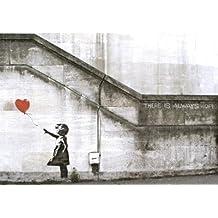 """Banksy - La niña del globo. Es un mini Poster de Papel de uno de los trabajos mas populares de este icono internacional del arte urbano (graffiti), en el que dice que siempre hay esperanza """"There is always hope"""". Medida estandarizada """"A2"""" (59.4 x 42 cm aprox.)"""
