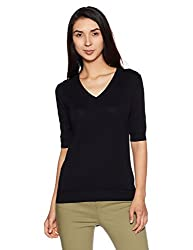 United Colors of Benetton Womens Cotton Pullover (17A1092D9002I_Black_L)