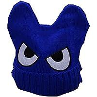 Cute Big Eyed niños tejidos a mano Resil invierno sombrero suave bebé caliente Cap, azul
