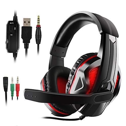 JAMSWALL Gaming Headset für PS4 PC Xbox One LED Bass Surround Noise Cancelling mit Mikrofon Gaming Kopfhörer für PS4 für Laptop Switch Games - Für Wort-spiele Ds Nintendo