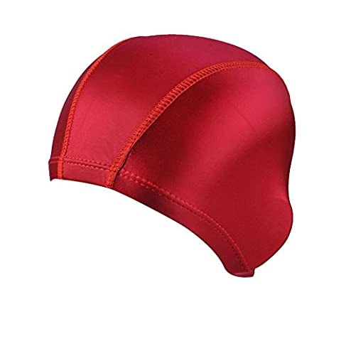 TININNA Solid Color Lycra Cloth Fabric Swimming Swim Cap Hats Bathing Hats for Adult Men Women Red