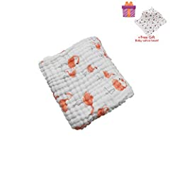Idea Regalo - Asciugamani Baby Bath Towel, Morbuy 100% Mussola Cotone Bagnetto Toeletta Bambino Bavaglino Tovagliolo Fazzoletto Salviettine Infante Neonato (105x105cm, Fenicottero)