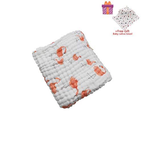 Asciugamani Baby Bath Towel, Morbuy 100% Mussola Cotone Bagnetto Toeletta Bambino Bavaglino Tovagliolo Fazzoletto Salviettine Infante Neonato (105x105cm, Fenicottero)