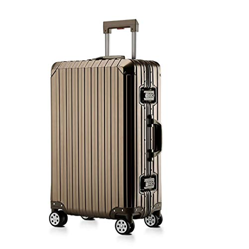 Koffer handgepäck Koffer Kofferraumschloss Koffer mit TSA-Schloss und 4 drehbaren Radkoffern [20 Zoll] samsonite Koffer (Color : Gold, Size : 24 inches/42x24x60cm)