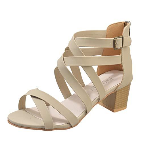 Masoness Mode Frauen Sommer Rom Einfarbig Peep Toe Criss Cross Zip Sandalen