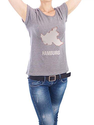 "Design T-Shirt Frauen Earth Positive ""Hamburg Silhouette"" - stylisches Shirt Städte Städte / Hamburg von artboxONE Edition Grau"