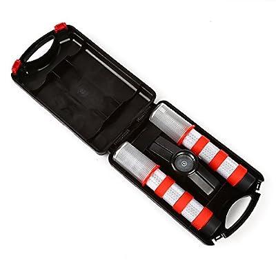 LTC ® 2 Stück LED Warnblinkleuchte Set mit Reflektor KFZ Warnblitzer Warnsignal Warnleuchte Pannenhilfe mit 3 Modus für Auto erste Hilfe Notfall Orange