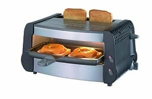 Severin 2801 Gourmet Gril, Noir Inox Brossé, Grill 2 X 350 W, Toast 1000 W