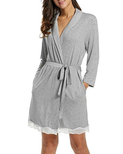 Avidlove Femme Robe de Chambre Peignoir Robe de Nuit Manche 3/4