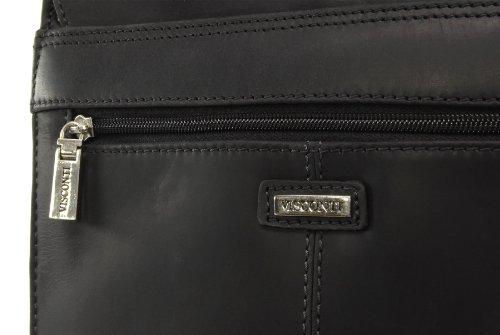Große braune Organizer-Umhängetasche aus Leder von Visconti (18410) - GRÖßE: B: 25 H: 30 T: 7 cm Schwarz