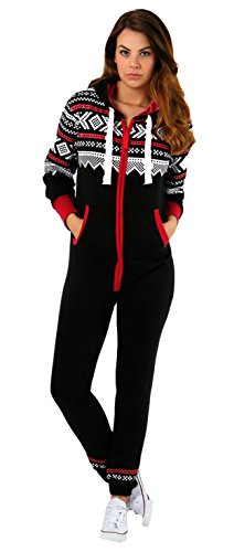 Juicy Trendz Dame Frauen Unisex One Zip Onesie Jumpsuit Playsuit Anzug Black Red Medium