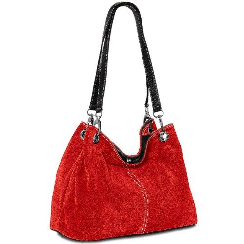 Caspar TL621 klassische Damen Wildleder Handtasche, Farbe:rot -