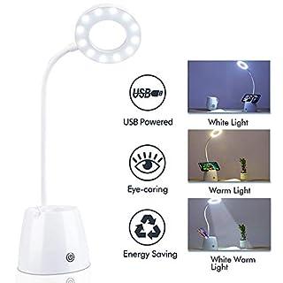 Nasharia USB LED Schreibtischlampe mit Stifthalter, LED Dimmbare Tischleuchte 3 Farb und 3 Helligkeitsstufen, Augenschutz Leselampe ideal für Lesen, Studieren, Büro, Kinderzimmer - Wiederaufladbar