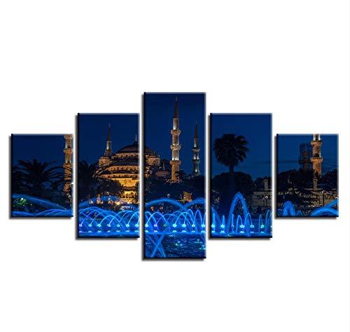 er Wohnzimmer 5 teilig Blaue Moschee und Brunnen Landschafts Plakat islamische religiöse Malereien Wohnzimmer Cafe Restaurant Wand Dekoration 100x50CM ()