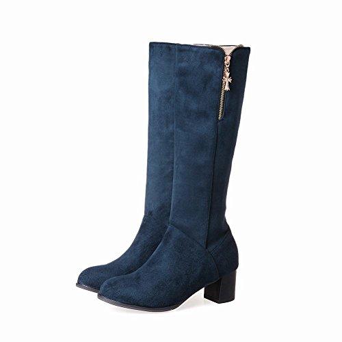 MissSaSa Donna Scarpe col Tacco Metà Elegante gli Stivali Blu