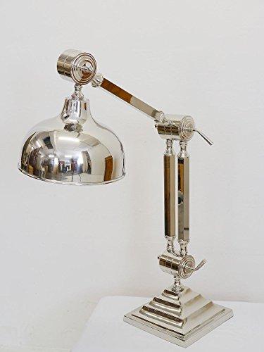 Antike Fundgrube Tischlampe Stehlampe Industrielampe Bauhausstil aus vernickelten Metall (3864)