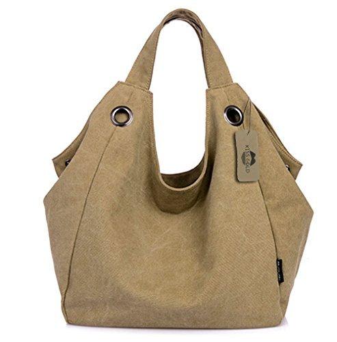 KISS GOLD Damen Schultertasche Canvas Totes Hobo Bag mit einfachem Stil, Khaki