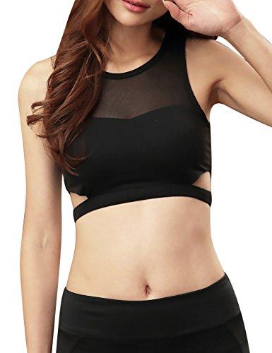 Jimmy Design Frauen-Sport-BH für Running, mittelstark Small schwarz (Mesh Top Cropped Damen)