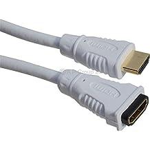 Color blanco Cable alargador HDMI M a F Cable plomo oro conector rápido 1,4versión conectores de oro de alta velocidad con Ethernet para Sony, Panasonic, Samsung, JVC, LG, Sharp, Plasma, LED, LCD, TV, HD, televisores, Xbox 360, uno, Plus, PS3, PS4, SKY Digital, HDTV, BLU-RAY reproductor de DVD, Philips, HMP2000, Apple TV, Virgin Tivo, Freesat, caja de Freeview, Playstation 3, BT, ordenador portátil, de sobremesa, Netbook, systrem de sonido Surround, SKY Box, F5, HDTV, Raspberry Pi, MHL, proyector