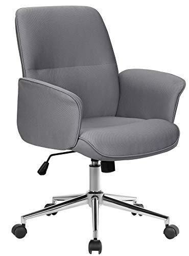 SixBros. Bürostuhl Chefsessel Drehstuhl Schreibtischstuhl Stoff Grau 0704M/8062