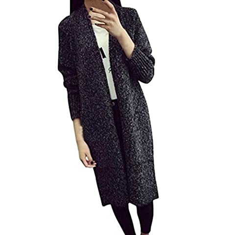 KEERADS WOMENS LADIES PLUS SIZE LOOSE KNITTED SWEATER KNITTED CARDIGANS (Free Size, Dark gray)