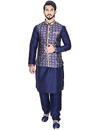 Manyavar Men's Dark Blue Full Sleeve Regular Fit Textured Kurta Paired with Churidar & Designer Nehru Jacket