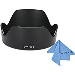 Bayonet Mount Lens Hood, CAM-ULATA Replacement EW-83H Lens Hood for Canon EF 24-105mm f/4L IS USM Lens with Microfiber Lens Cleaning Cloth