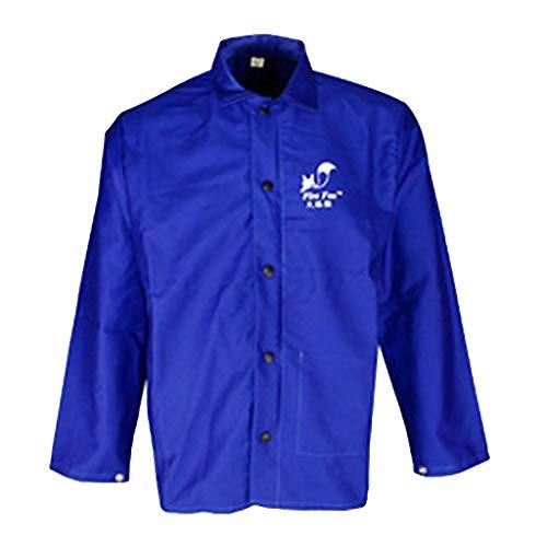 B Blesiya Schweißen Jacke Mit Lange Ärmel Schutzkleidung Schweißerschutzjacke- L/XL/XXL/XXL - Blau L