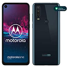 "Motorola One Action, Display CinemaVision 6.3"" FHD+, 128 GB Espandibili, Tripla fotocamera con Action Cam dedicata (12MP+16MP+5MP), Dual Sim, Android 9 Pie - Blue Denim"
