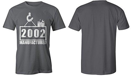Manufactured 2002 - Rundhals-T-Shirt Männer-Herren - hochwertig bedruckt mit lustigem Spruch - Die perfekte Geschenk-Idee (06) dunkelgrau