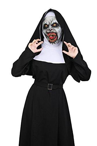 Xcoser Halloween The Nun Kostüm Film Cosplay Outfit Damen Schwarz Polyester Robe mit Zubehör für Verrücktes Kleid Kleidung
