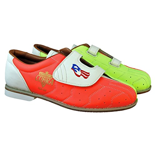 Glow TCRGV Damen Bowlingschuhe Cobra Rental mit Klettverschluss, Neongelb/orange/Weiß, Größe 37