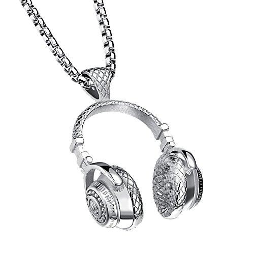 UM Bijoux Pendentif Collier Casque Audio Écouteur Headphones Musique Acier Inoxydable pour Homme et Femme Couleur Argent