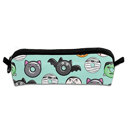 Halloween Donut Medley Teal Scale Pencil Pouch Bag Stationery Pen Case Makeup Box with Zipper Closure 21 X 5.5 X 5 cm