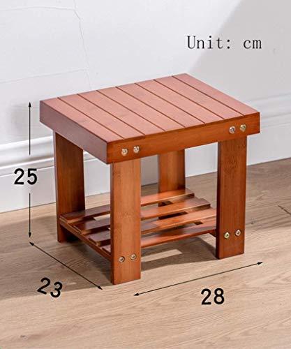 Hocker Massivholzhocker, kleine Bank, Garten weinrot, kreativer Bambus Stuhl, Kinder, Schuhbank, Nicht-Kunststoff, (Color : Wine red)