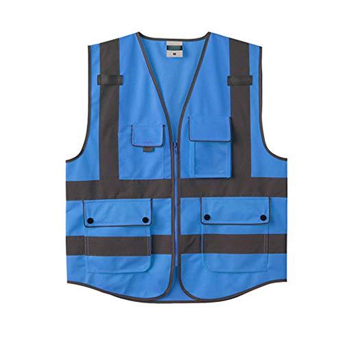 XBQXF Reflektierende Weste, Auto Jährliche Inspektion Verkehr Bau Sicherheitsbekleidung Reflektierende Weste Fluoreszierende Kleidung, Multi-color Optional (Farbe : Blue(L))