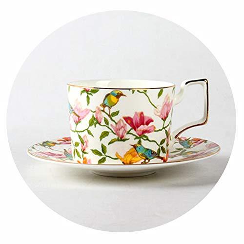 270ml Fashion Ceramic Coffee Cup set Europäische große Kapazitäts-elegante rote Cup Qualität Bone China Cup TeaCup Disc, 8 Bone China Cup 8