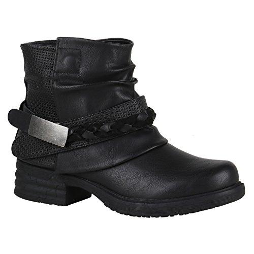 Stiefelparadies Damen Stiefeletten Biker Boots Nieten Schnallen Leder-Optik Schuhe 148775 Schwarz Flechte 39 Flandell
