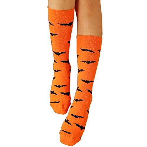 BZLine® Halloween Männer und Frauen Cotton Strümpfe Socken, Baumwolle, Unisex (Orange) (Halloween-socken)