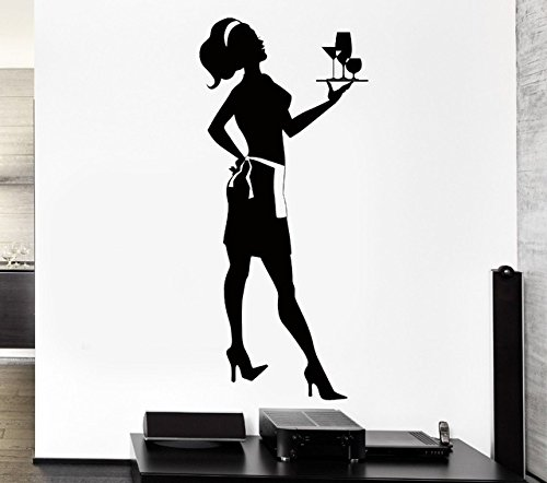 Wandaufkleber, Restaurant Vinyl Wandtattoo Kreative Hausfrau Kellner Mädchen Server Wandbild Kunst Wandaufkleber Home Küche Dekoration 112X70 Cm 2 Tier-server
