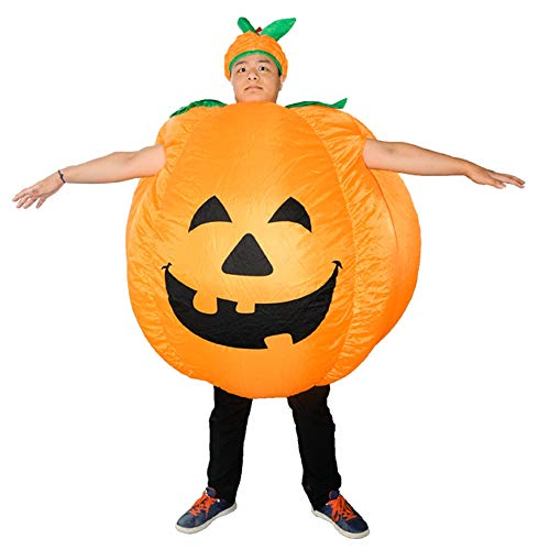 (Amooy Dizi Halloween Kostüm Kürbis Orange Unisex Aufblasbare Fancy Dress up Cosplay Anzug mit Gebläse Gebläse)